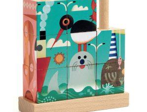 Djeco 4 ξύλινοι κύβοι – παζλ με καβίλιες 'Ζωάκια στη Θάλασσα'