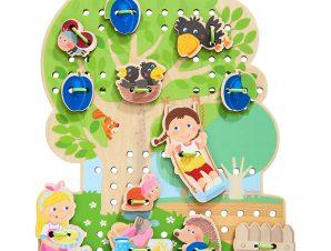 Haba ξύλινο παιχνίδι σύνθεσης εικόνας με κορδόνι 'Δέντρο με φρούτα'