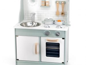 Viga Ξύλινη κουζίνα πράσινη – λευκή, με αξεσουάρ 70εκ.