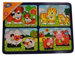 Ξύλινα παζλ 2 κομματιών προσχολικής ηλικίας με κατοικίδια ζώα